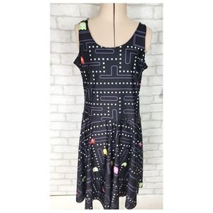 Womens Pac-Man Sleeveless Fit & Flare Flirty Dress